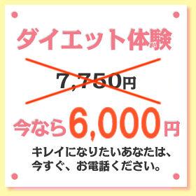 ダイエット体験7,750円→今なら6,000円キレイになりたいあなたは、今すぐ、お電話ください。